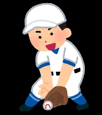 ゴロを取る野球選手のイラスト