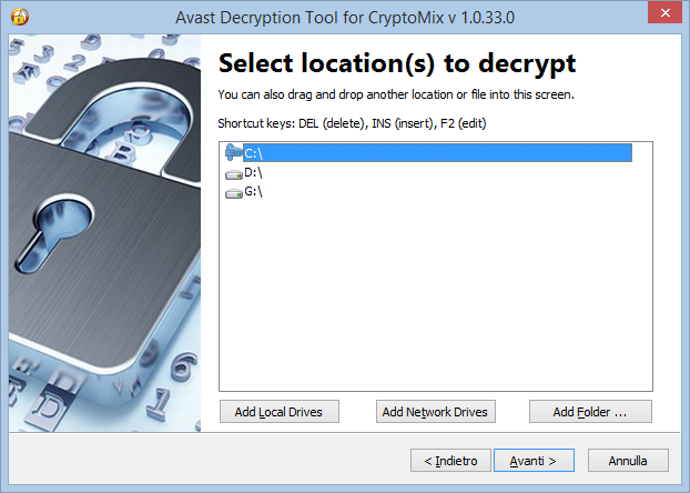 Avax Decryption Tool for CryptoMix, selezione cartelle da decriptare