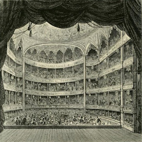 Inside Drury LaneTheatre in 1804 from Old and New London (1873)