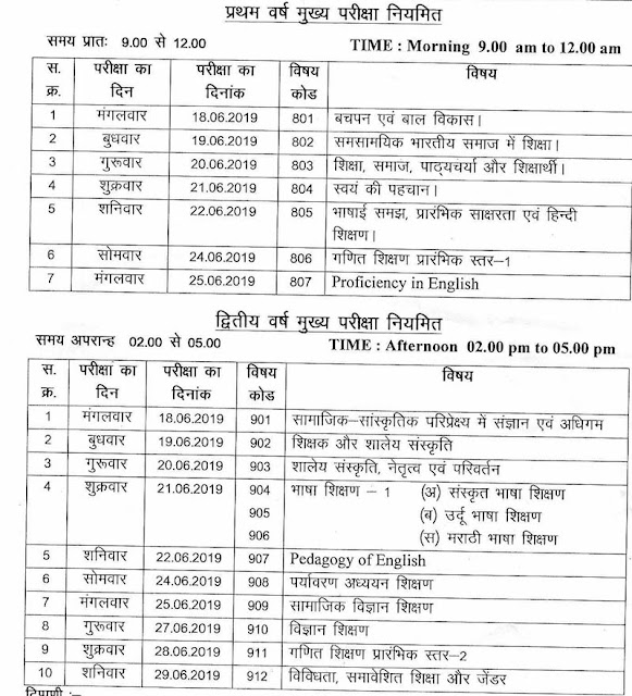 MP D.El.Ed 1st and 2nd Year Exam Time Table June 2019