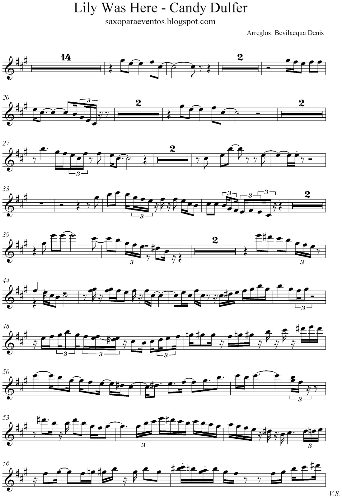 Lily was Here - Candy Dulfer score and track (Sheet music free