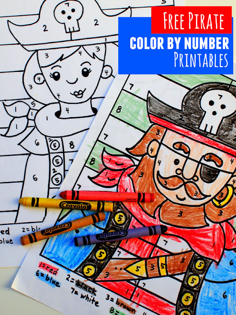 free pirate boy and girl color by number printable sheets for preschoolers