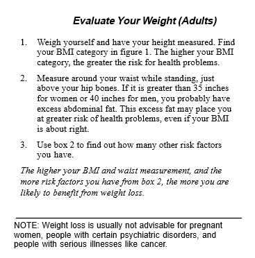 Evaluate Your Weight (Adults)