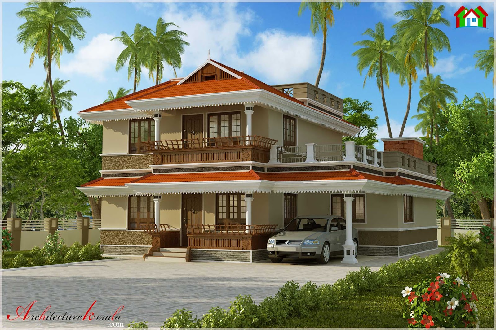 2500 square feet simple traditional style house elevation architecture kerala. Black Bedroom Furniture Sets. Home Design Ideas