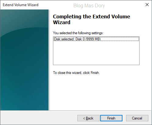 Extend volume wizard, completing extend volume wizard, klik finish, Blog Mas Dory
