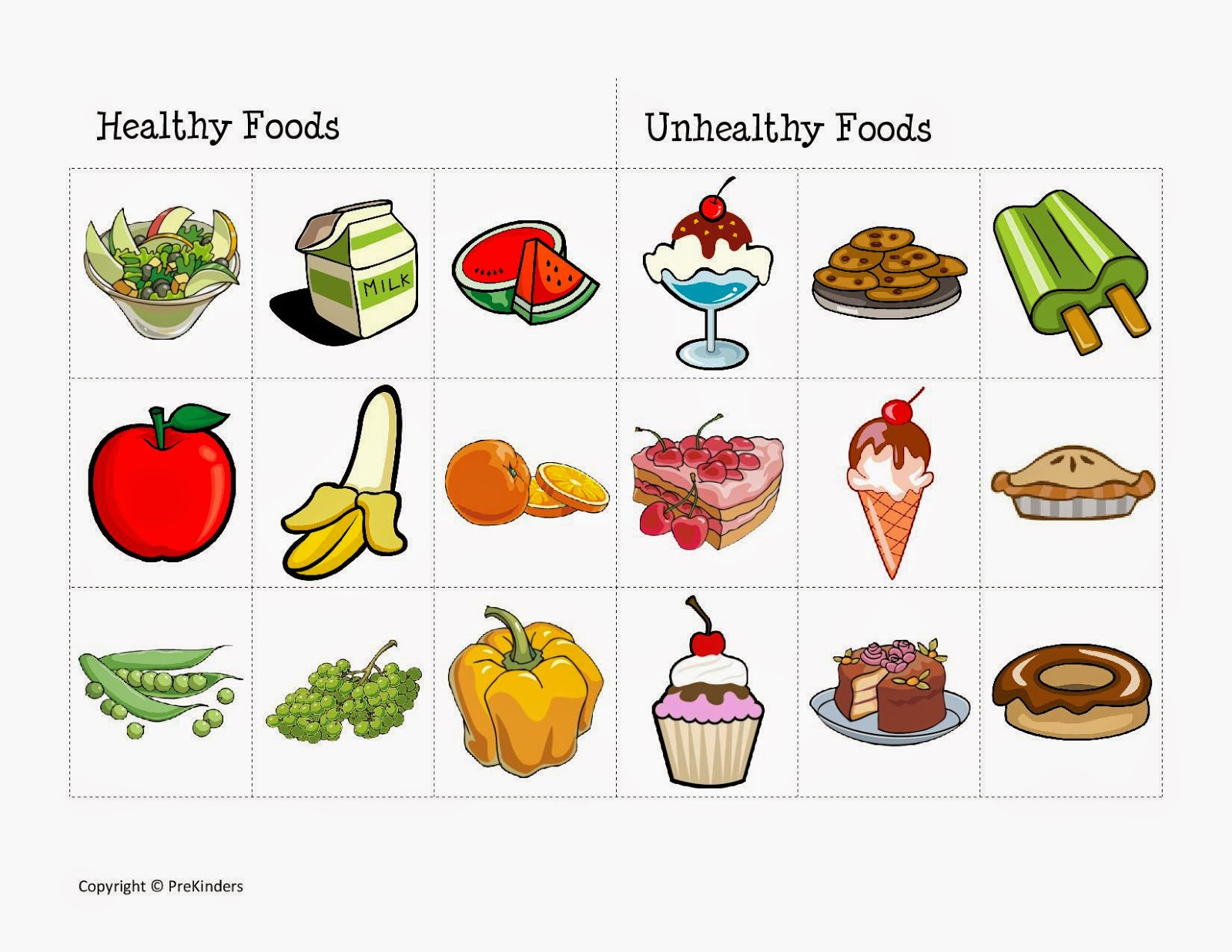 Worksheets Classify the food as Healthy or unhealthy and as fruitsUnhealthy Food Vs Healthy Food