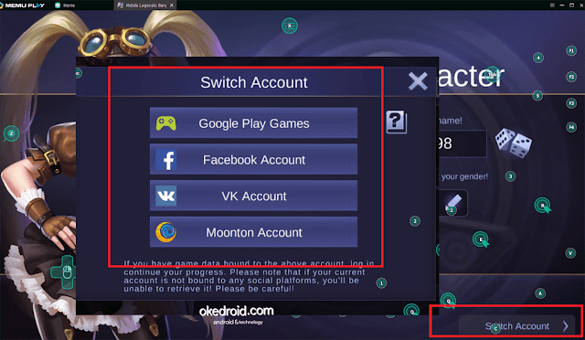 Switch Akun Mobile Legends Emulator PC Android Laptop