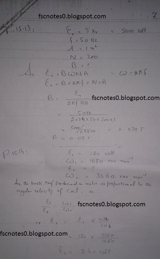 F.Sc ICS Notes: Physics XII: Chapter 15 Electromagnetic Induction Numerical Problems Asad Hussain 6