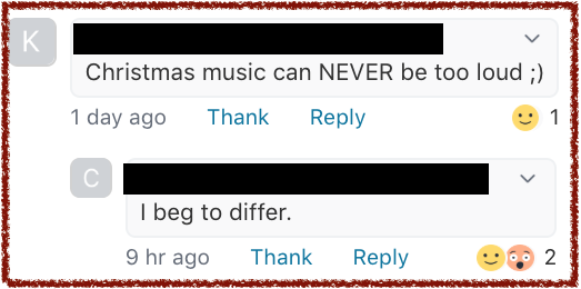 Nextdoor App Christmas Music volume debate. marchmatron.com