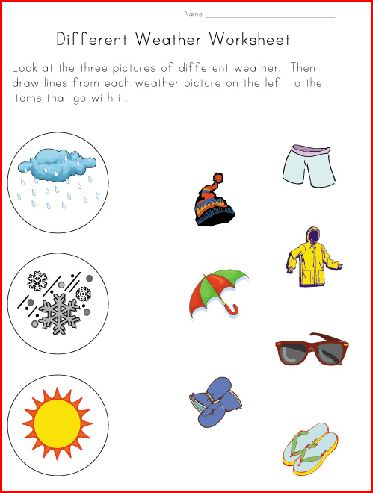 fichas de inglés para niños weather worksheets for children