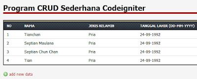 Program CRUD Sederhana Codeigniter