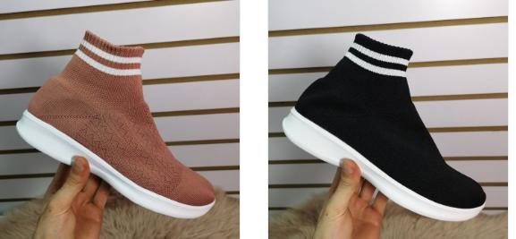 Pantofi sport de femei inalti la moda negri, roz 2019