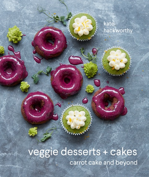 Veggie Desserts + Cakes Cookbook cover by Kate Hackworthy