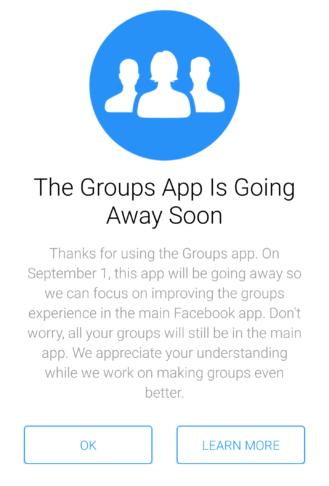 Facebook Group app Discontinue September 1