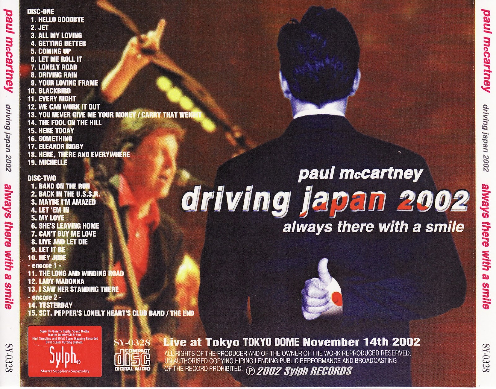 Paul McCartney Always There With A Smile 2002 Sylph Records SY 0328 Driving Japan Tour Tokyo Dome Thursday November 14th