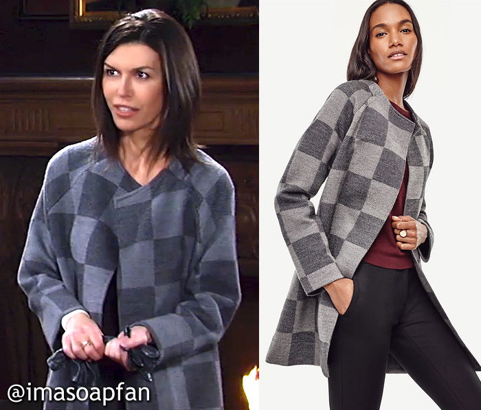Anna Devane, Finola Hughes, Grey Checked Wool Sweater Coat, Plaid, Ann Taylor, GH, General Hospital