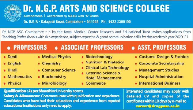 Dr NGP College Biotech/Microbiology/Biochemistry Faculty Jobs