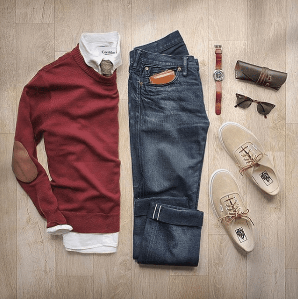 Red with Dark Jeans Dressing Ideas for Men