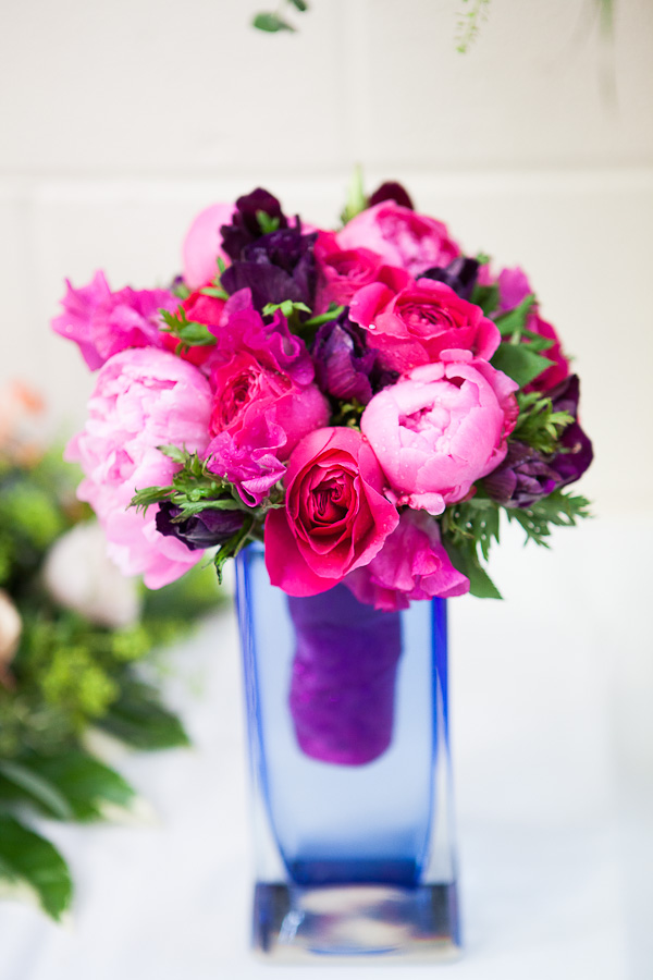 Hot Pink Wedding Bouquet of Peonies, Sweet Peas & English ...