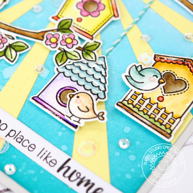 Sunny Studio Stamps: A Bird's Life and Sun Ray Dies No Place Like Home Card by Lexa Levana