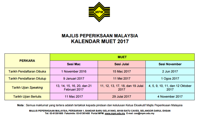 MUET - Jadual Peperiksaan 2017