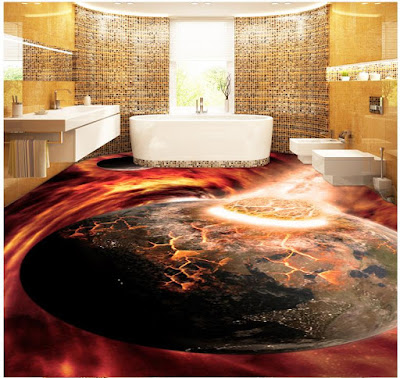 3D bathroom floor art with epoxy flooring paint