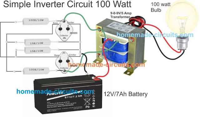 simple inverter wiring with transformer, 2N3055, resistors and battery 12V 7 Ah
