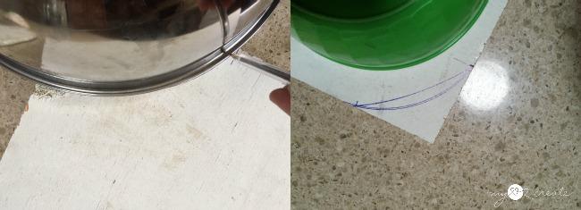 using bowls to trace semi circles