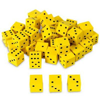 http://www.amazon.com/Nasco-TB18746T-Square-36-Piece-Yellow/dp/B00EJSLPQ2/ref=sr_1_2?ie=UTF8&qid=1446215534&sr=8-2&keywords=foam+dice