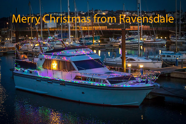 Photo of Ravensdale decked out ready for Christmas at Maryport Marina. Photo by Jan Fialkowski