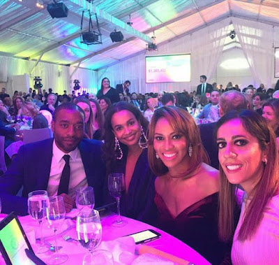 Photos of British actor Chiwetel Ejiofor with his model girlfriend Frances Aaternir and family members