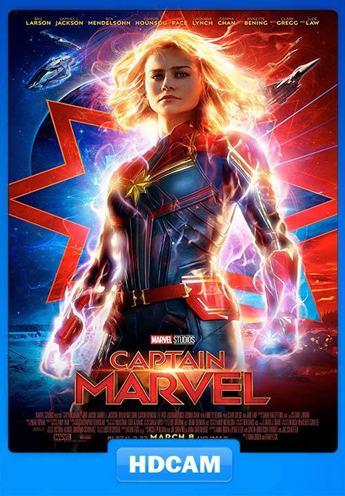 Captain Marvel 2019 720p HDCAM Rip Hindi Telugu Tamil Eng x264   480p 300MB   100MB HEVC Poster