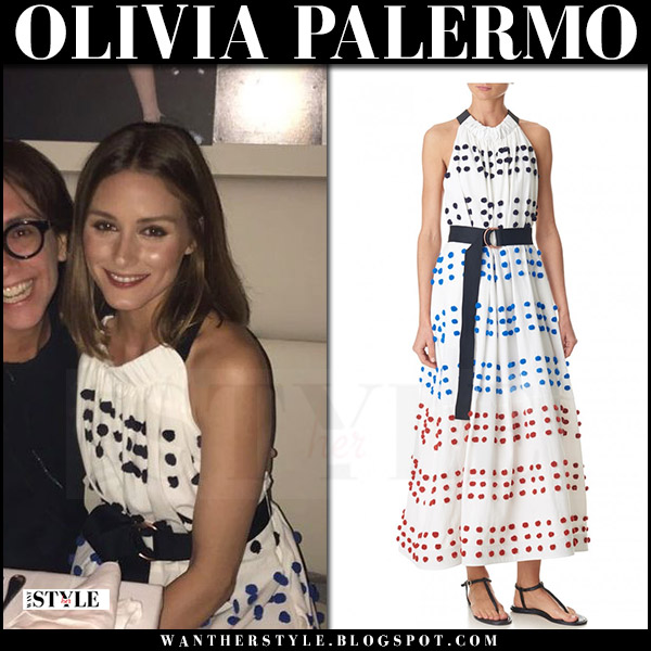 Olivia Palermo in white halter neck pom pom detail dress tibi what she wore summer italy 2017