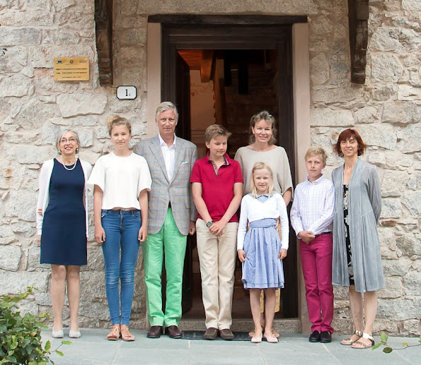 King Philippe, Queen Mathilde, Princess Eleonore, Prince Gabriel, Princess Elisabeth and Prince Emmanuel on holiday in Piedmont region of Italy