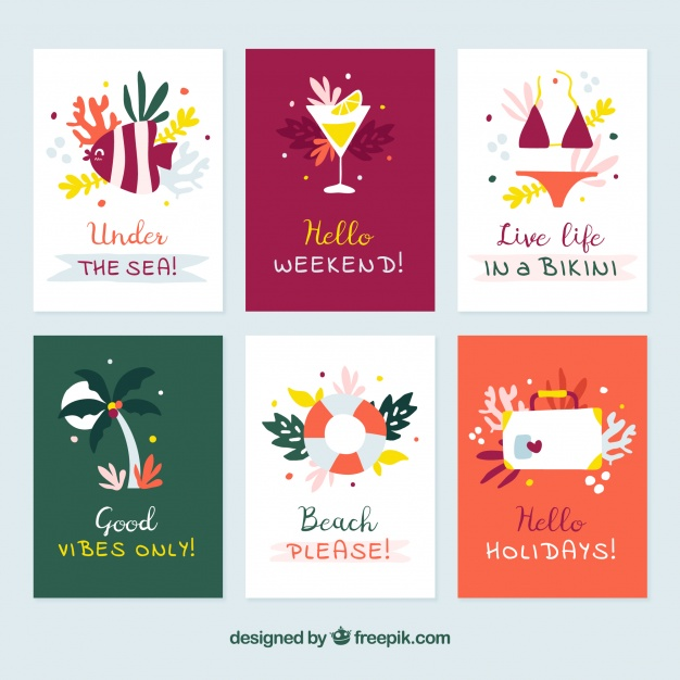 Summer cards collection with message and elements Free Vector