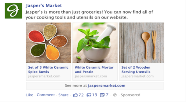 Hình thức quảng cáo Facebook Multi Product