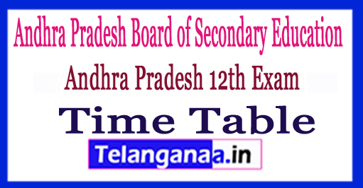 AP 12th Exam Time Table 2018