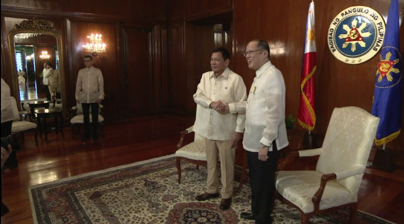 President Aquino receives Incoming President Duterte,his last visitor in the Palace.
