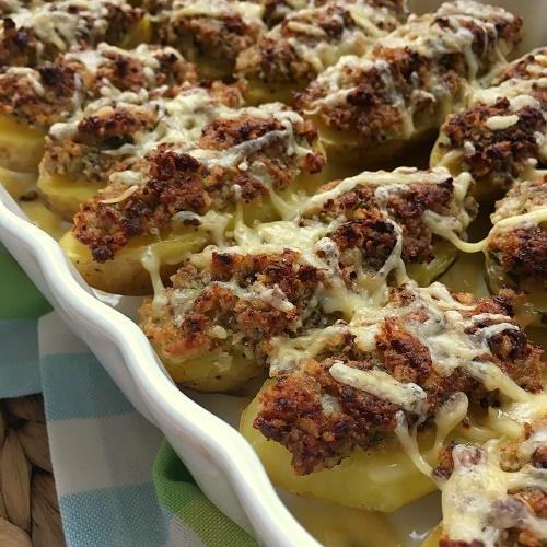 Pellkartoffeln mit Parmesan-Senf-Kruste