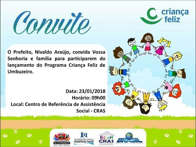 Prefeitura de Umbuzeiro fará o lançamento do Programa Criança Feliz na próxima terça-feira (23)