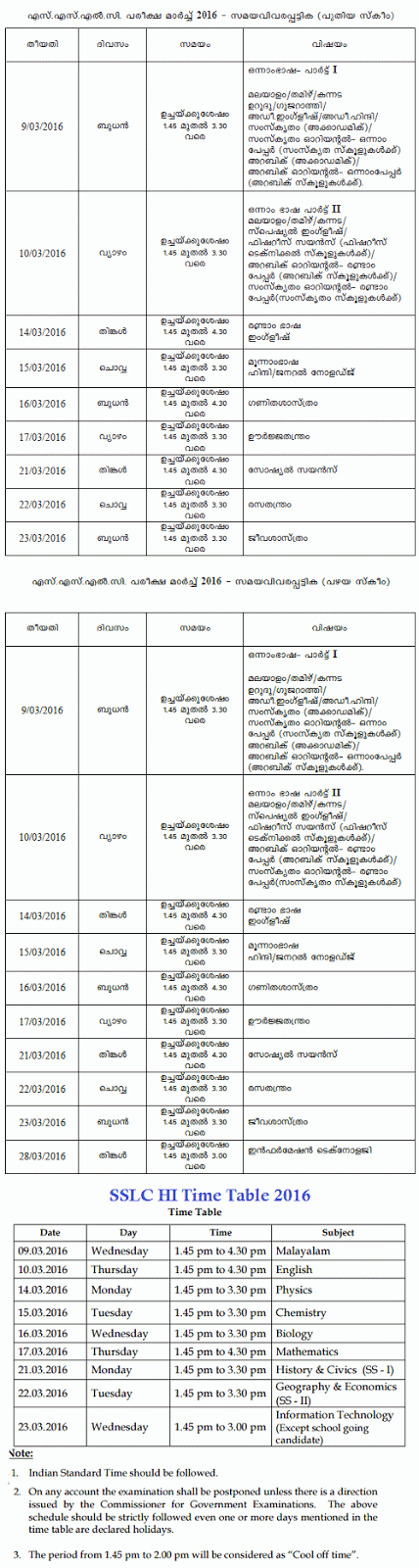 kerala sslc time table 2016