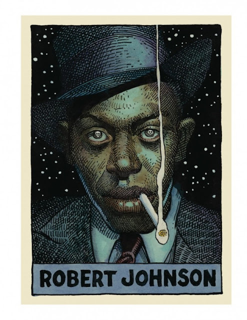 Robert Johnson dibujado por William Stout