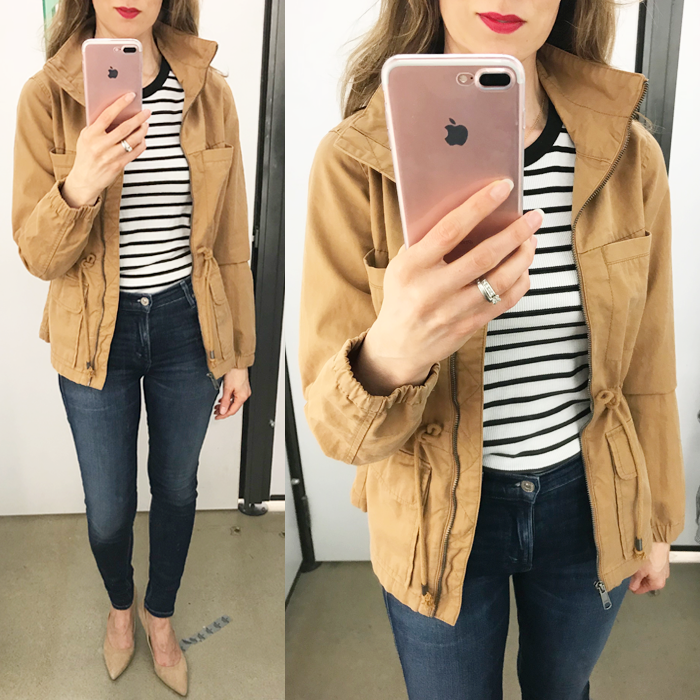 old navy field jacket striped tee