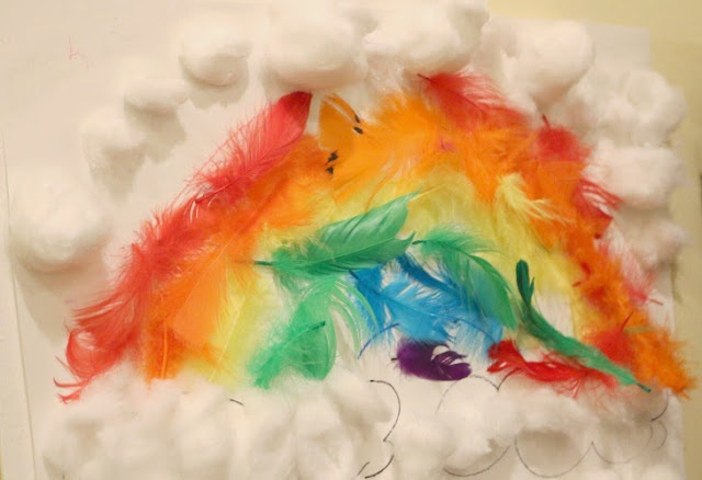 rainbow sensory activity with feathers