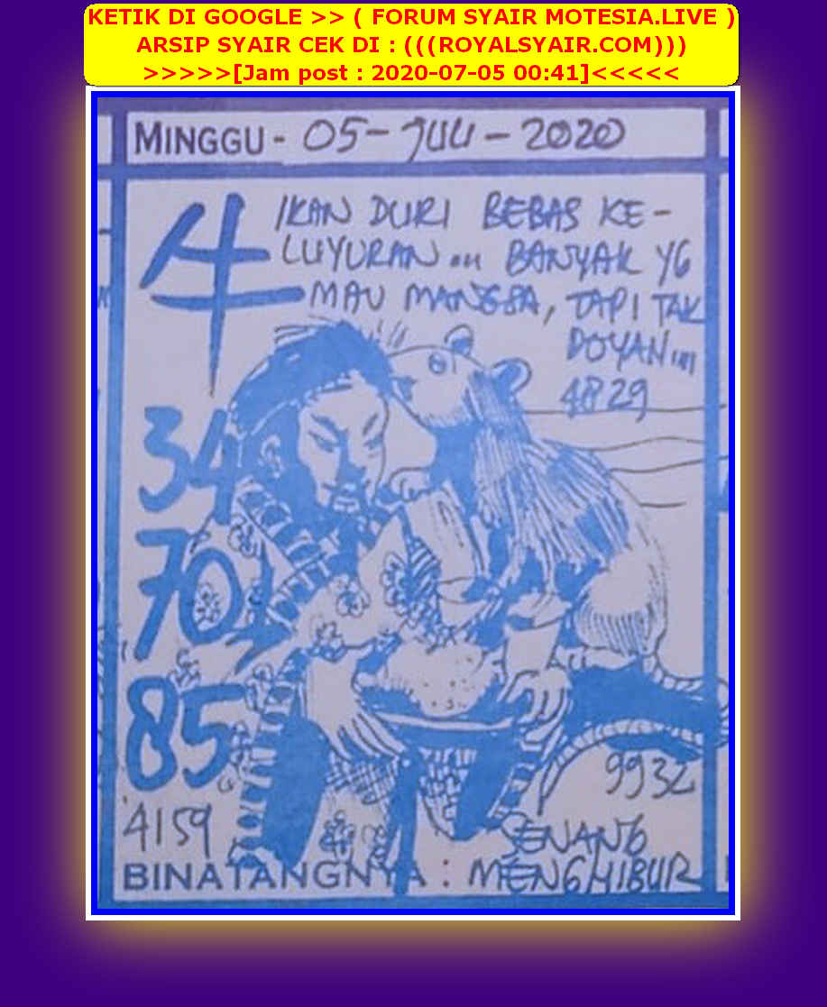 Kode syair Singapore Minggu 5 Juli 2020 50