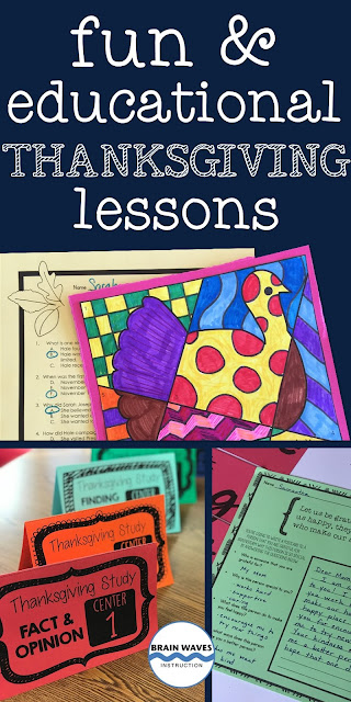 Thanksgiving lessons for the ELA classroom that are fun and educational!  This list of Thanksgiving activities move beyond Thanksgiving crafts and ELA skills to students' learning.