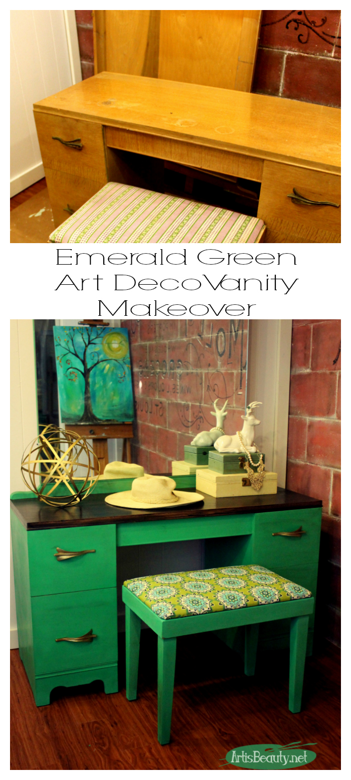 Greenery Pantone Color Of The Year Mcm Mod Art Deco Vanity Painted Makeover  Before And After