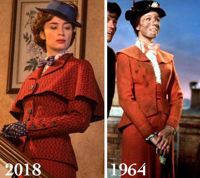 Figurino Mary Poppins 2018 e 1964