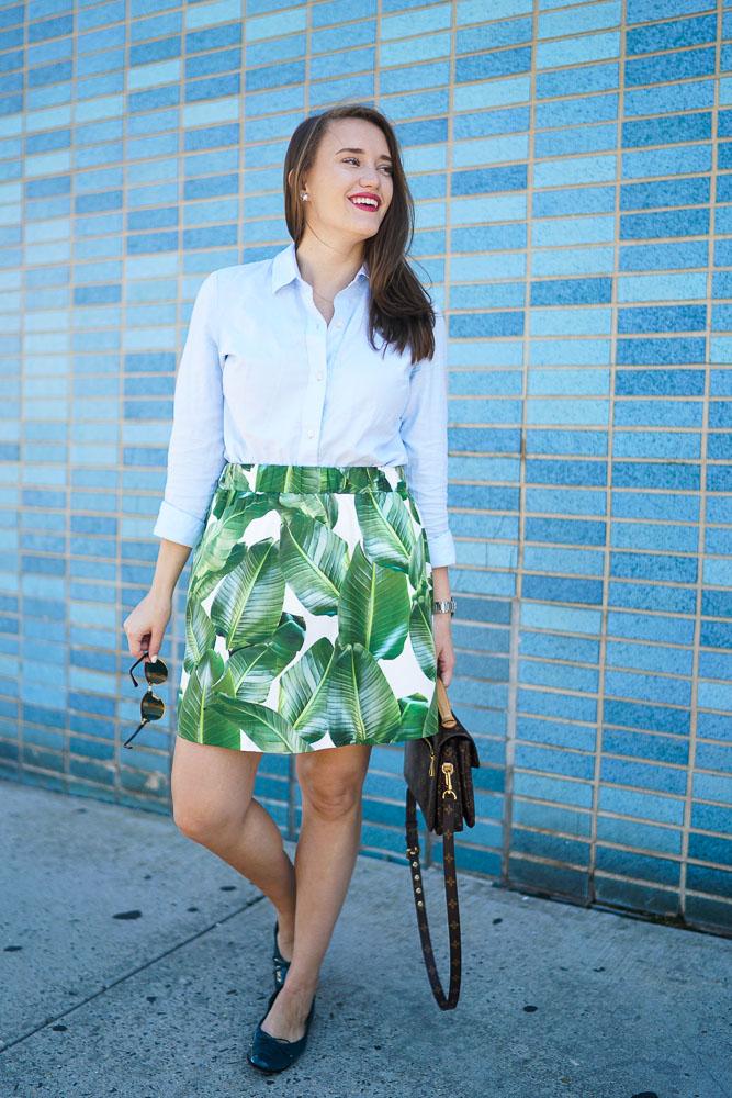 PARTYSKIRTS Alexandra Palm Skirt, Covering the Bases, Krista Robertson, Palm Tree pattern, Fashion Blogger