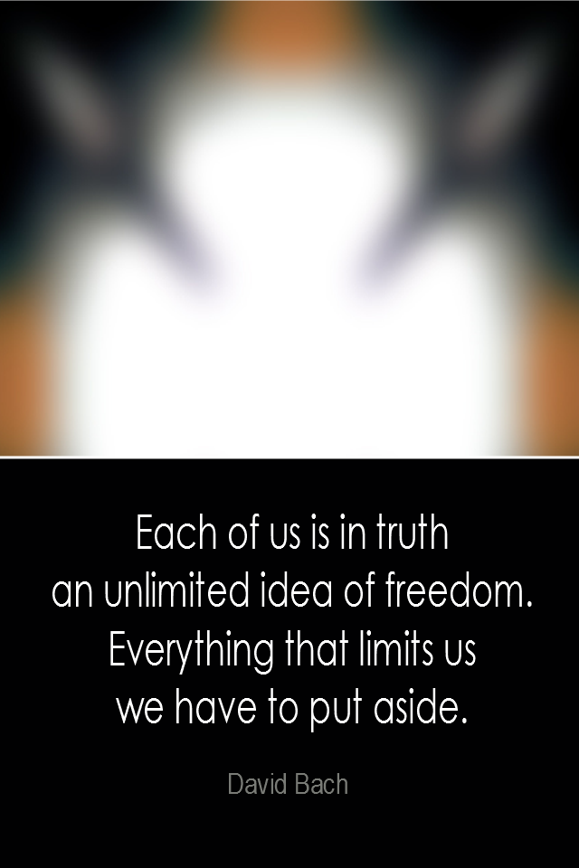 visual quote - image quotation: Each of us is in truth an unlimited idea of freedom. Everything that limits us we have to put aside. - David Bach